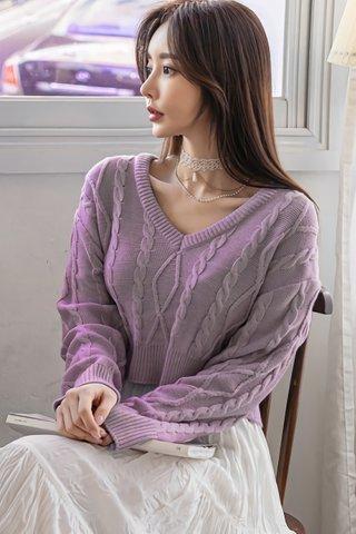 BACKORDER - Titrina Sleeve Knit Top In Lavender