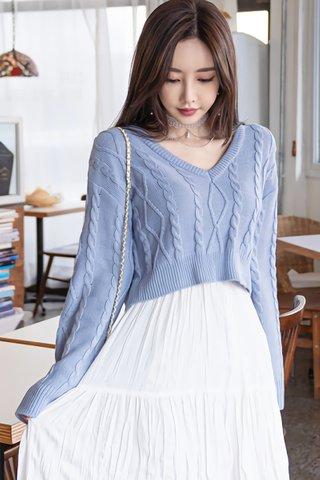 BACKORDER - Titrina Sleeve Knit Top In Sky Blue