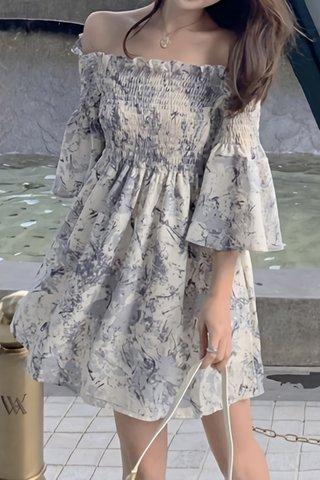 BACKORDER - Valona Off Shoulder Shirring Dress