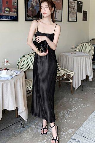 BACKORDER - Veltina Pleat Camisole Dress In Black