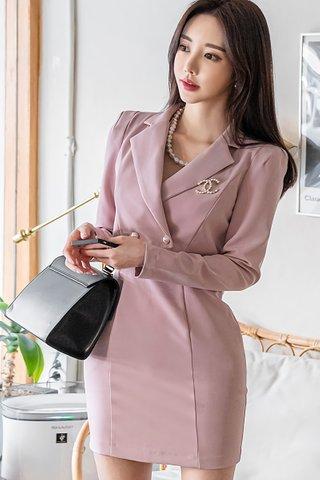 BACKORDER - Ailee Mini Dress With Outerwear Set In Dusty Pink