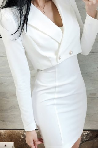 BACKORDER - Ailee Mini Dress With Outerwear Set In White