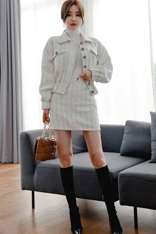 BACKORDER - Almande Collar Outerwear With Skirt Set