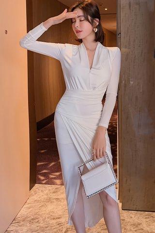 BACKORDER - Aries V-Neck Asymmetrical Hem Dress