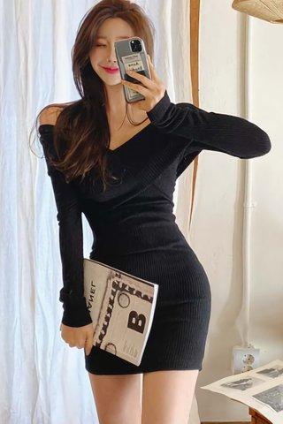 BACKORDER - Ceriss Off Shoulder Knit Dress In Black