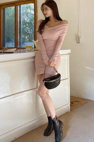 BACKORDER - Ceriss Off Shoulder Knit Dress In Pink