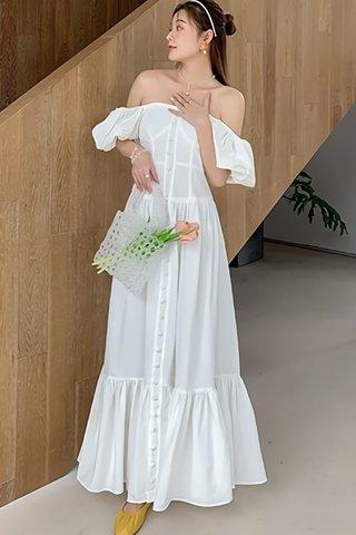 BACKORDER - Estina Puff Sleeve Ruffle Hem Dress