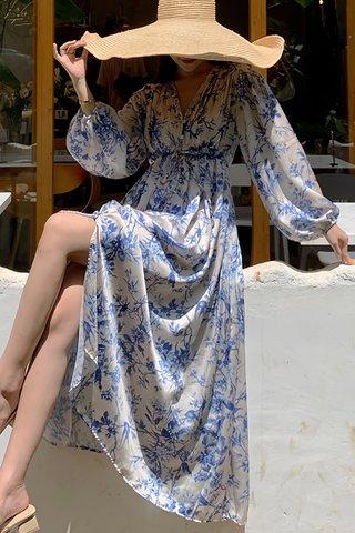 BACKORDER - Ferva V-Neck Ribbon Tie Dress