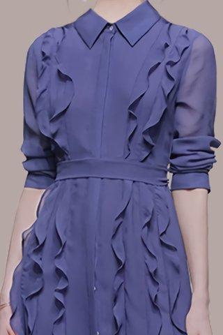 BACKORDER - Juney Sleeve Cascade Ruffle Dress In Ocean Blue