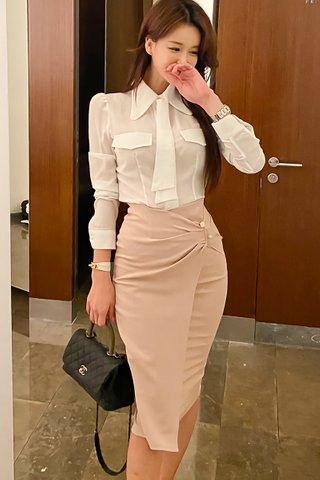 BACKORDER - Kamile Shirt With Ruched Skirt Set