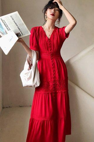 INSTOCK - Karmen V-Neck Crochet Dress In Red