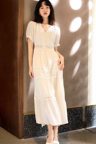 BACKORDER - Karmen V-Neck Crochet Dress In White