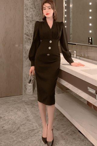 BACKORDER - Korvy V-Neck Sleeve Dress In Black