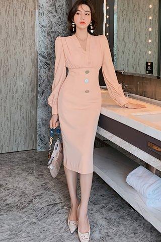 BACKORDER - Korvy V-Neck Sleeve Dress In Peach Pink