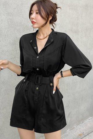 BACKORDER - Leana Sleeve Front Button Romper In Black