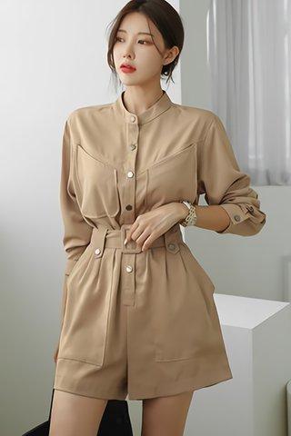BACKORDER - Leana Sleeve Front Button Romper In Khaki