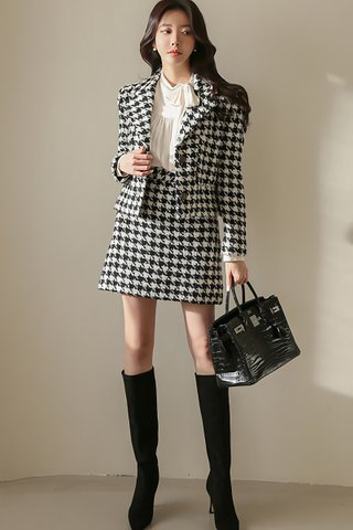 INSTOCK - Mairen Houndstooth Outerwear With Skirt Set