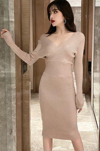 BACKORDER - Meilyn Sleeve Knit Dress In Beige