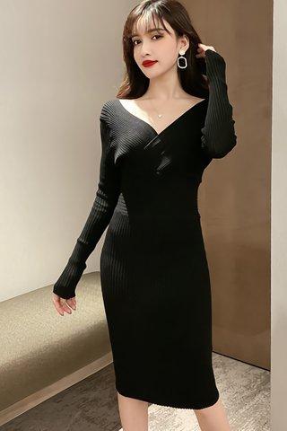 BACKORDER - Meilyn Sleeve Knit Dress In Black