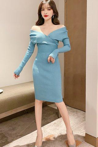 BACKORDER - Meilyn Sleeve Knit Dress In Sky Blue