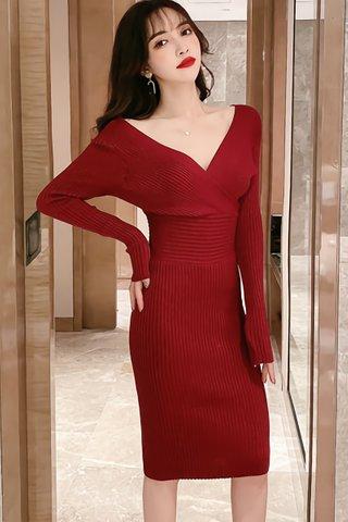 INSTOCK - Meilyn Sleeve Knit Dress In Wine Red