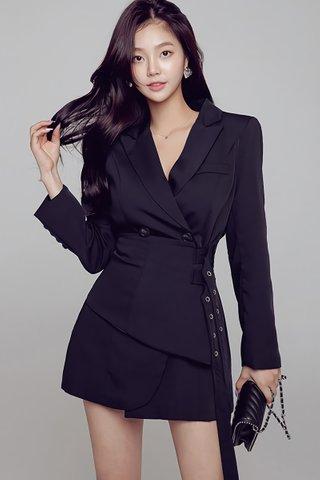 BACKORDER - Mella Sleeve With Waist Belt Dress In Black