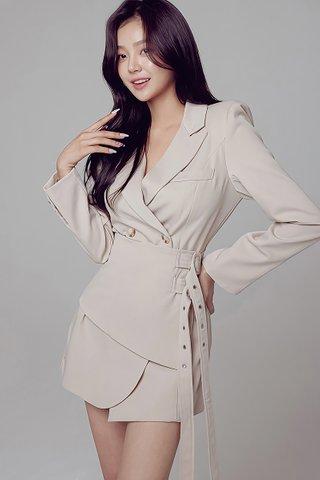 BACKORDER - Mella Sleeve With Waist Belt Dress In Cream