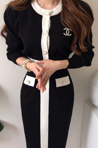 BACKORDER - Shavon Sleeve Knit Top With Skirt Set In Black