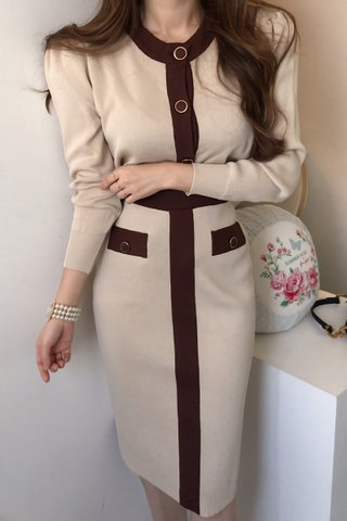 BACKORDER - Shavon Sleeve Knit Top With Skirt Set In Cream