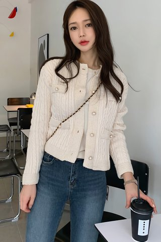 BACKORDER - Weilina Sleeve Knit Top Outerwear In Cream