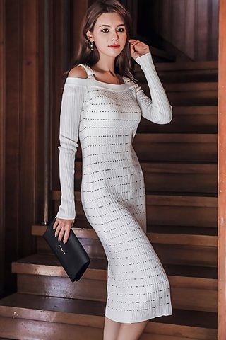 BACKORDER - Zovy Cold Shoulder Sleeve Knit Dress In White