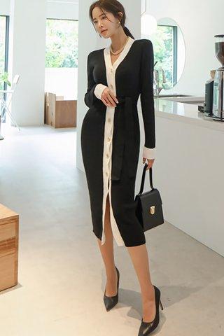 BACKORDER - Alisah V-Neck Knit Dress In Black