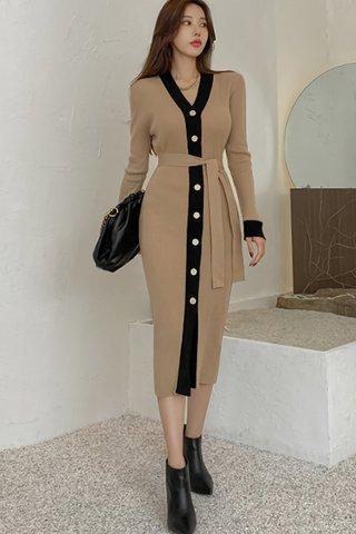 BACKORDER - Alisah V-Neck Knit Dress In Khaki