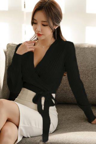 BACKORDER - Alsara Side Tie Knit Top In Black