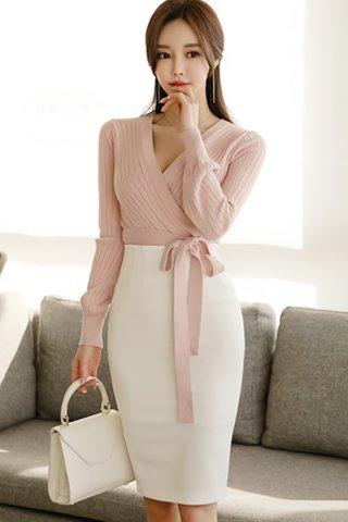BACKORDER - Alsara Side Tie Knit Top In Pink