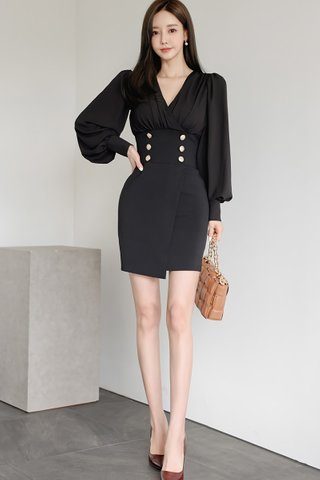 BACKORDER - Cindy V-Neck Breasted Mini Dress In Black