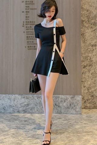 BACKORDER - Claira Cold Shoulder Side Silt Dress With Short Set