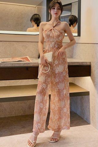 INSTOCK - Elisa Halter Neck Floral Print Jumpsuit