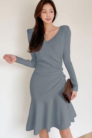 BACKORDER - Elise Sleeve Knit Ruched Dress In Ash Blue