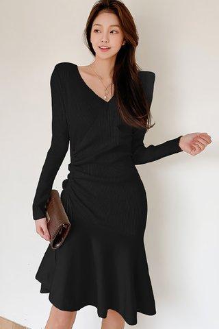 BACKORDER - Elise Sleeve Knit Ruched Dress In Black
