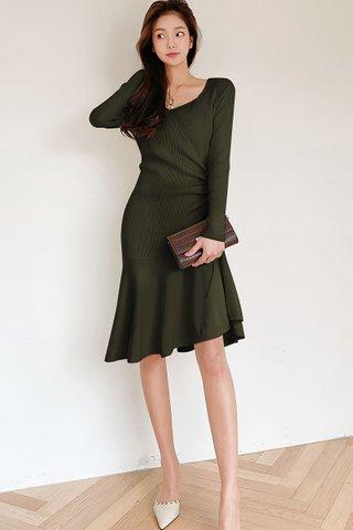 BACKORDER - Elise Sleeve Knit Ruched Dress In Olive