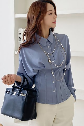 BACKORDER - Fonseca Collar Sleeve Panelled Top In Light Blue