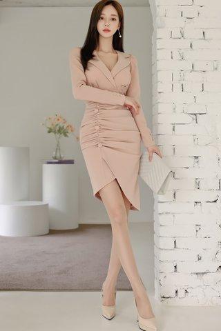 BACKORDER - Iryen V-Neck Ruched Dress