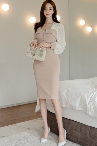 BACKORDER - Jova Square Neck Ruched Dress