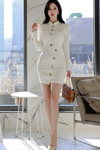 BACKORDER - Kimberley Sleeve Button Down Mini Dress In White