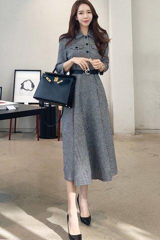 BACKORDER - Magdalene Houndstooth A-Line Dress