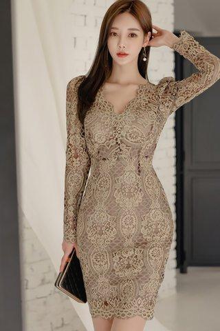 INSTOCK - Nelene Lace Overlay Dress In Khaki