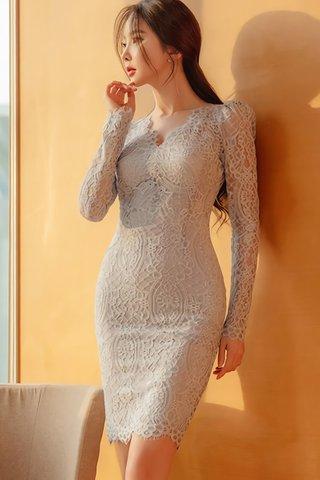 BACKORDER - Nelene Lace Overlay Dress In Light Blue