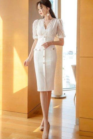 BACKORDER - Sandar Mesh Button Down Dress In White