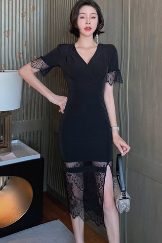 BACKORDER - Santoria V-Neck Lace Hem Dress In Black